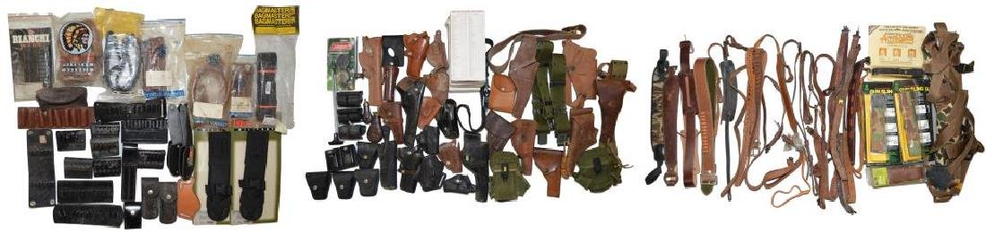 LOT OF HOLSTERS, SLINGS, BELTS & ACCESSORIES.
