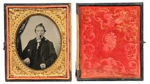 RECENTLY DISCOVERED CASED RUBY PLATE AMBROTYPE