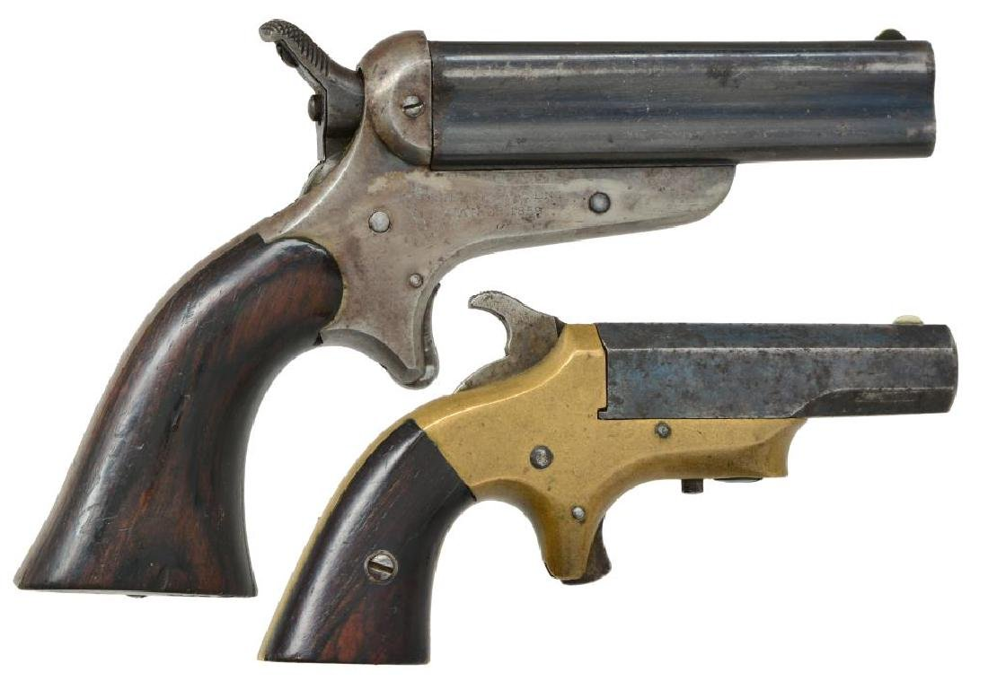 2 ANTIQUE PISTOLS BY SHARPS & HANKINS ALONG WITH