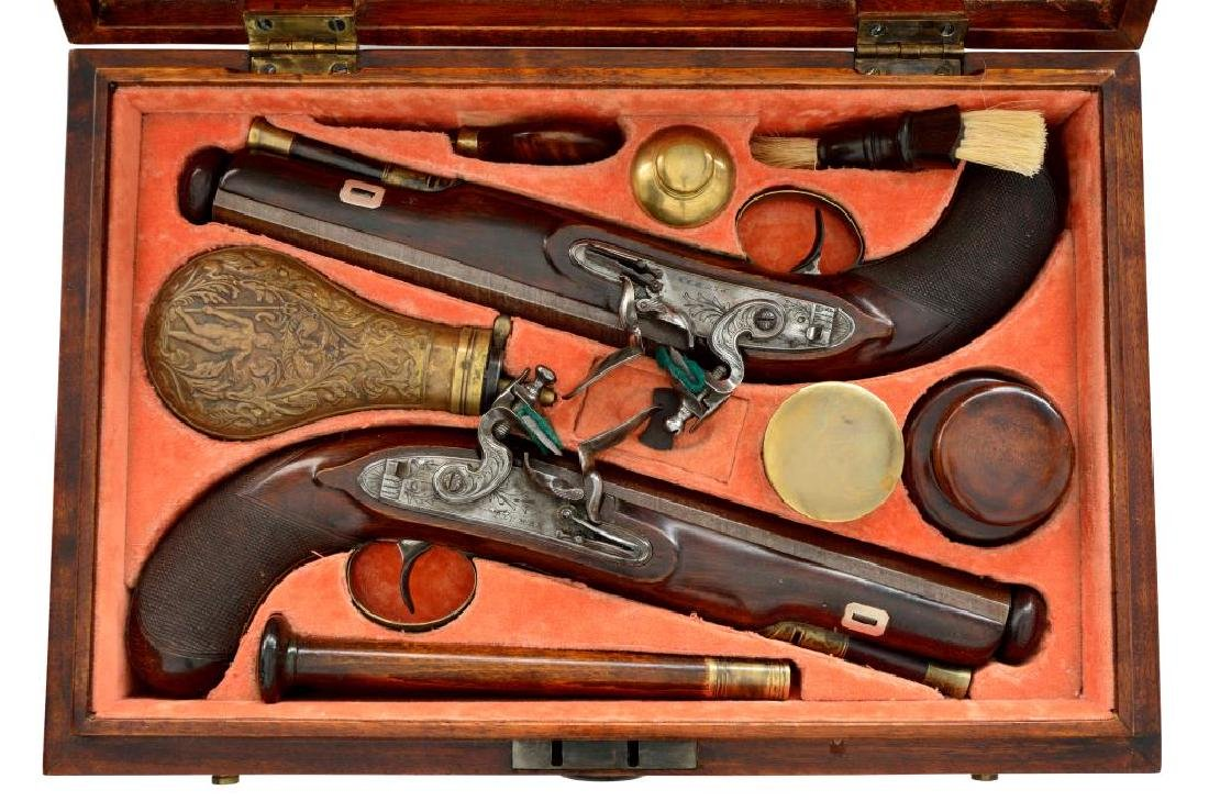 HENLEY CASED PAIR OF MATCHLOCK DUELING PISTOLS.