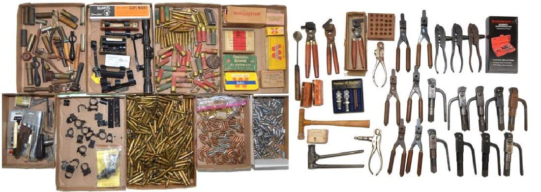LOT OF RELOADING TOOLS, COMPONENTS & AMMO.