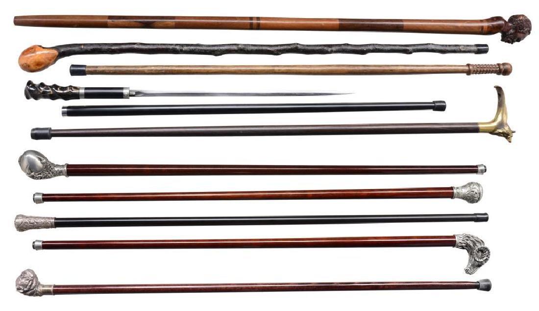9 CANES & 1 SWORD CANE.