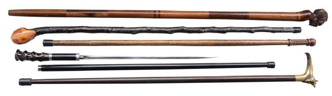 9 CANES & 1 SWORD CANE. - 2