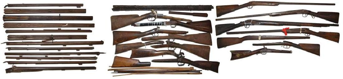 SHOTGUN, FOWLER & MUSKET PARTS LOT.