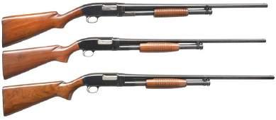 3 WINCHESTER MODEL 12 PUMP SHOTGUNS.