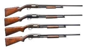 4 WINCHESTER MODEL 12 PUMP SHOTGUNS.
