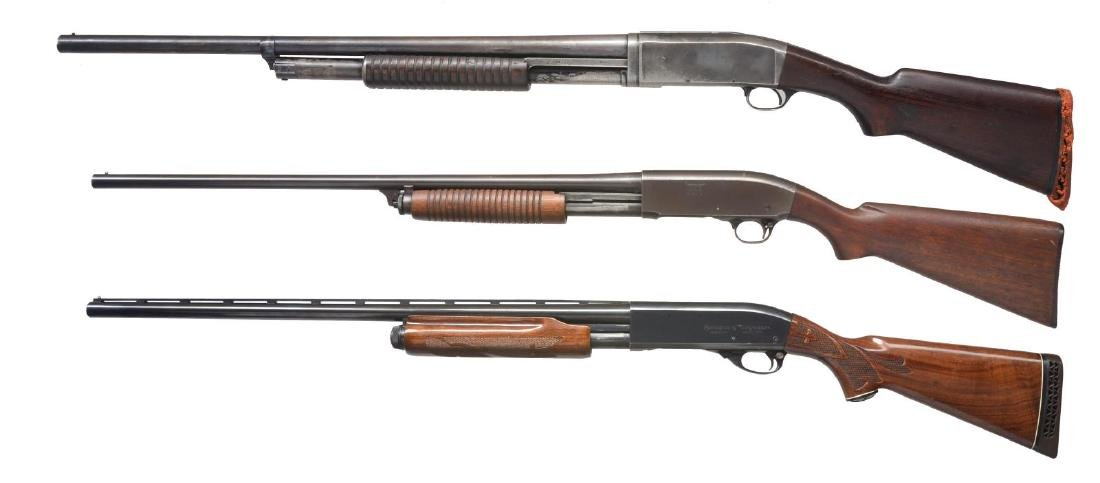 3 REMINGTON SLIDE ACTION SHOTGUNS.