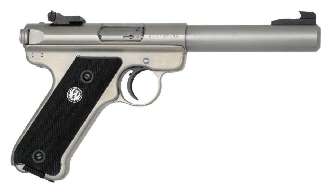 STAINLESS RUGER MARK II TARGET SEMI AUTO PISTOL.