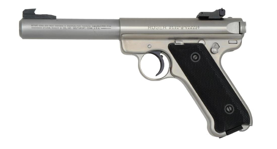 STAINLESS RUGER MARK II TARGET SEMI AUTO PISTOL. - 2
