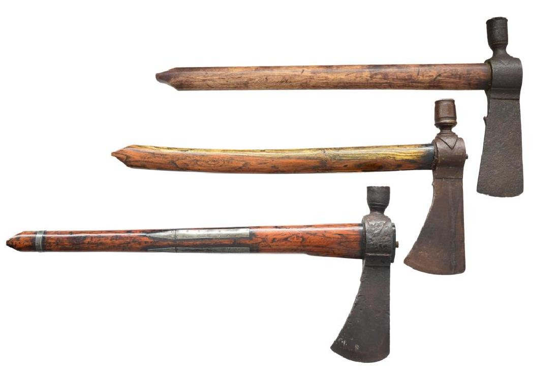 3 EARLY AMERICAN PIPE TOMAHAWKS.