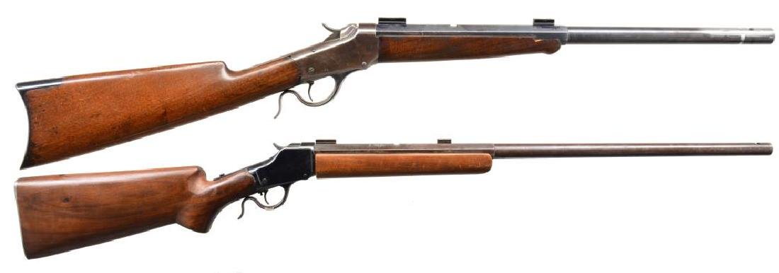 2 WINCHESTER 1885 SINGLE SHOT RIFLES.