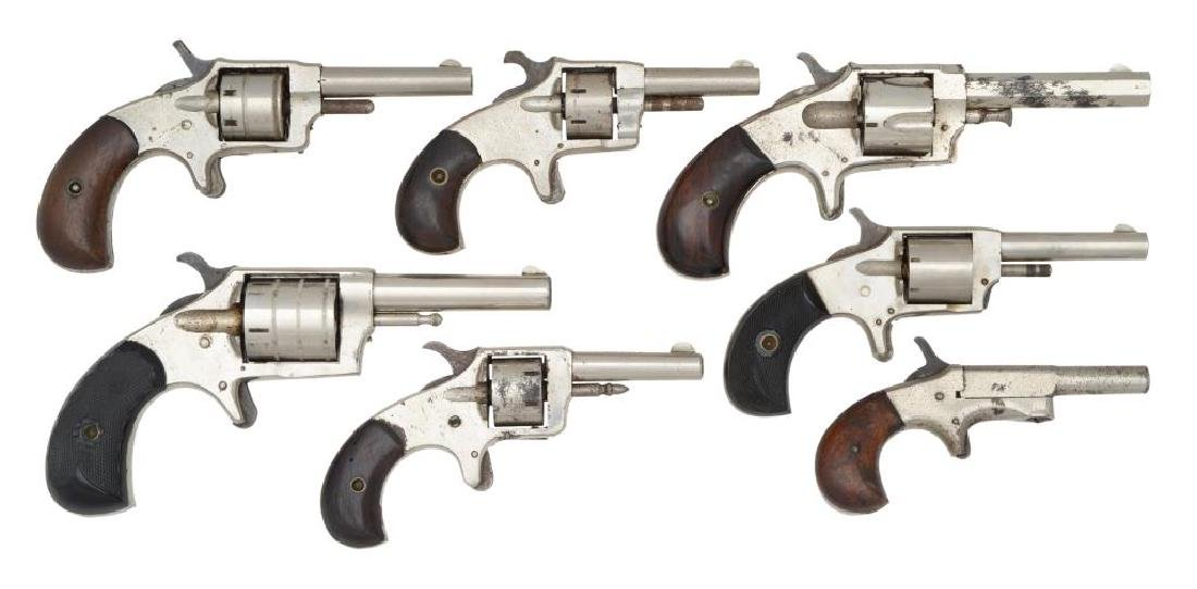 6 ANTIQUE REVOLVERS AND 1 SINGLE SHOT PISTOL.