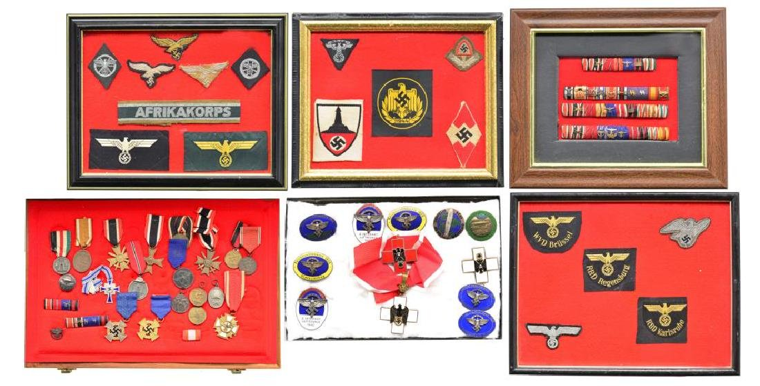 LARGE GROUP OF WWII GERMAN MEDALS, RIBBONS,