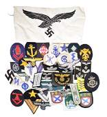 WWII GERMAN CLOTH & INSIGNIA GROUP.