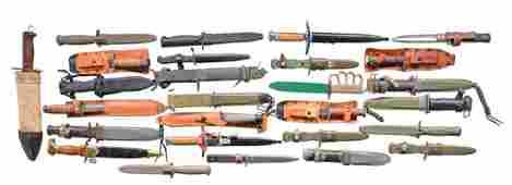 28 MILITARY FIGHTING KNIVES, DAGGERS, BAYONETS & 3