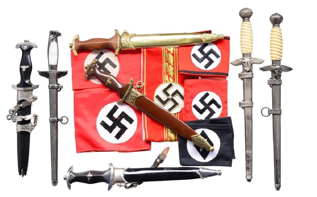 8 REPRO GERMAN DAGGERS, ARM BANDS, MEDALS, PINS &