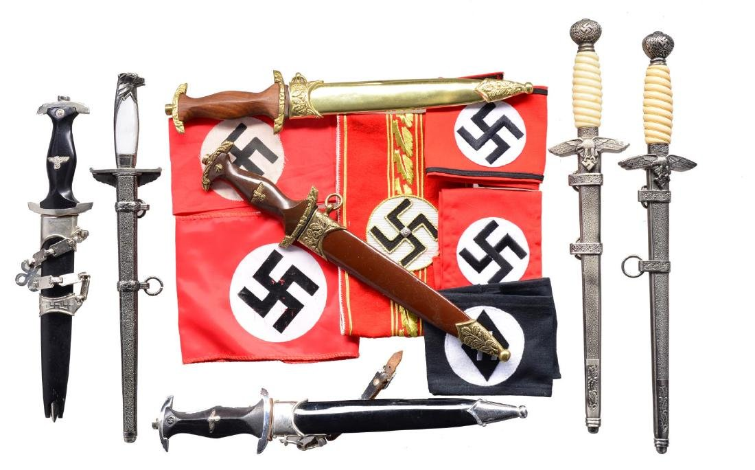 8 REPRO GERMAN DAGGERS, ARM BANDS, MEDALS, PINS & - 2