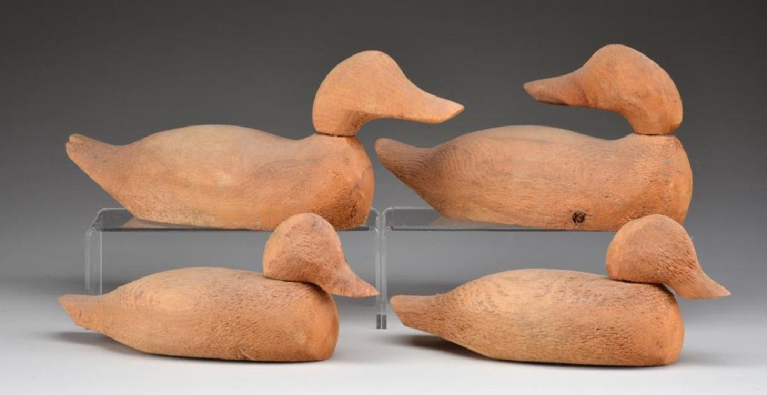 4 UNPAINTED WOODEN DECOYS FROM EVANS DECOY CO.,