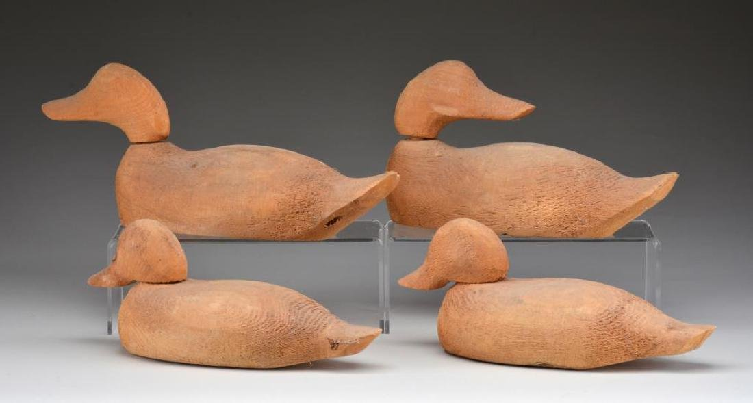 4 UNPAINTED WOODEN DECOYS FROM EVANS DECOY CO., - 2