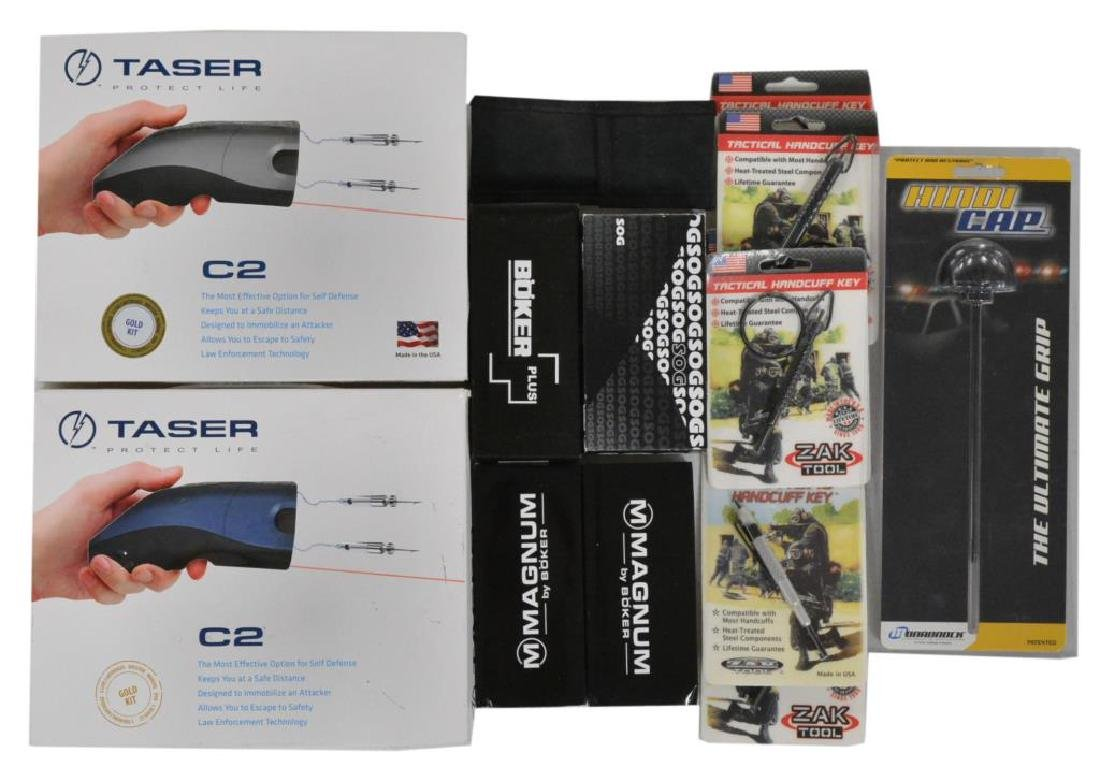 GROUPING OF TASERS, TACTICAL KNIVES, ACCESSORIES &