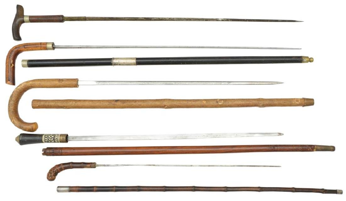 FIVE 19TH & 20TH CENTURY SWORD CANES.