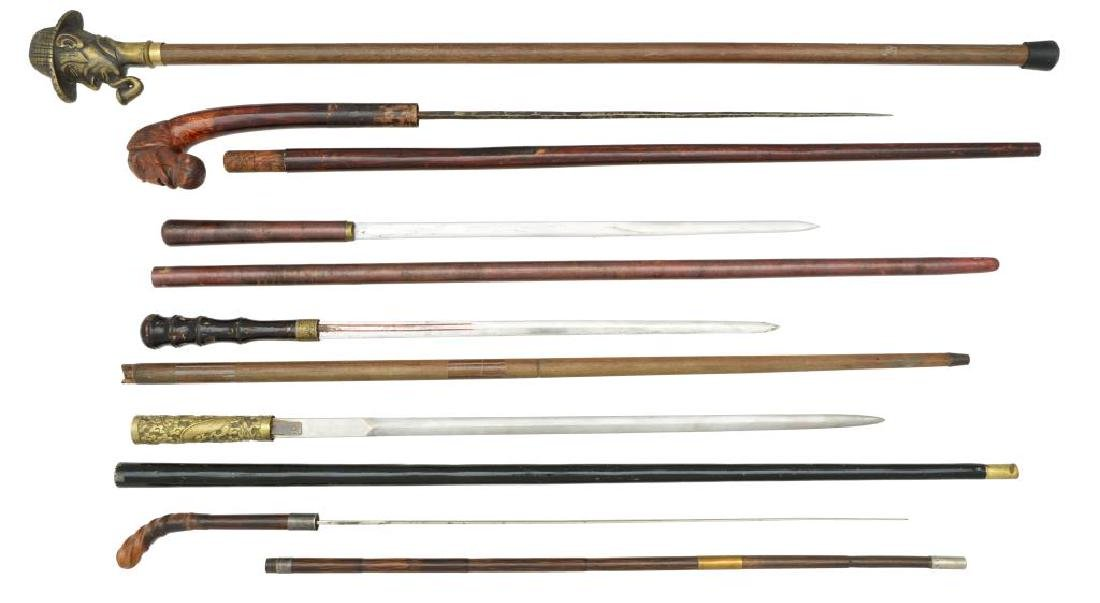 FIVE 19TH & 20TH CENTURY SWORD CANES & 1 CANE.