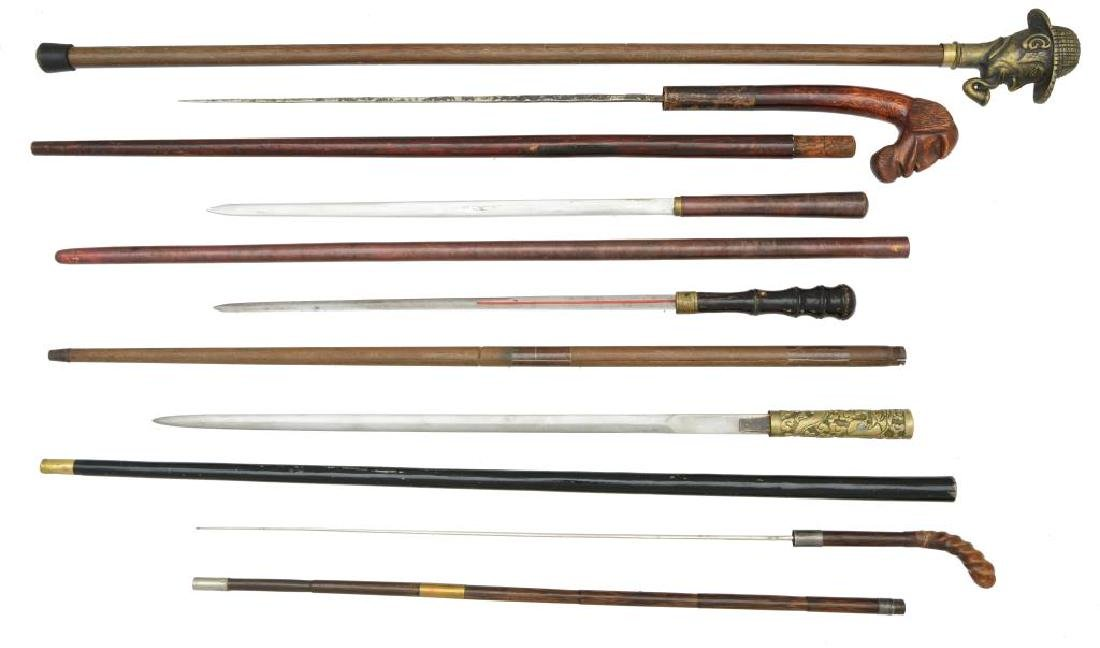 FIVE 19TH & 20TH CENTURY SWORD CANES & 1 CANE. - 2