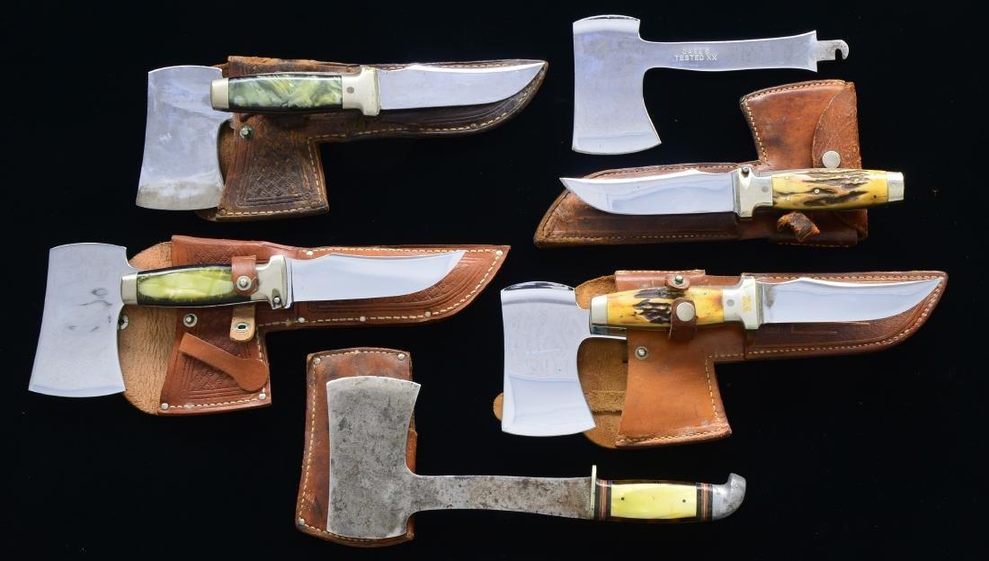 4 CASE KNIFE/AXE COMBINATIONS & 1 WESTERN AXE.
