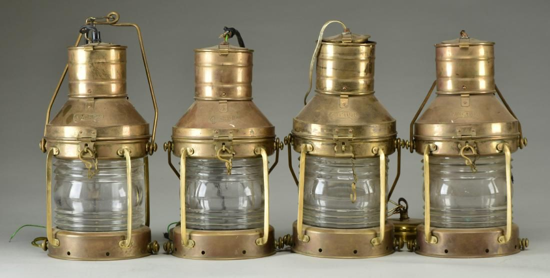4 LARGE BRASS SHIP LANTERNS.