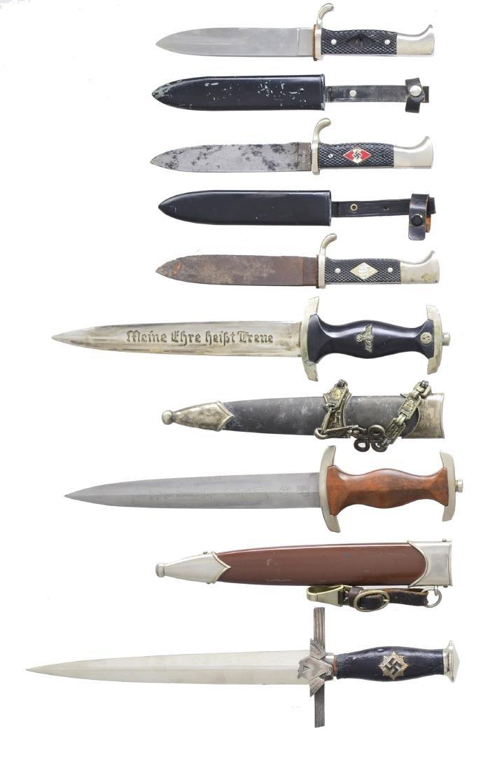 6 WWII STYLE GERMAN DAGGERS.