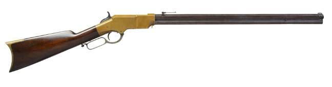 MARTIALLY MARKED HENRY LEVER ACTION RIFLE.