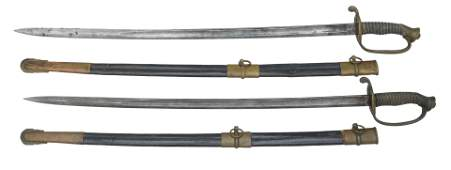 PAIR OF CIVIL WAR MODEL 1850 OFFICER'S SWORDS WITH