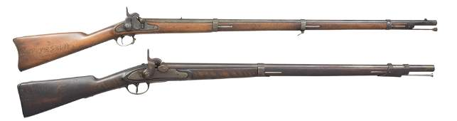 2 CARVED CIVIL WAR MUSKETS.
