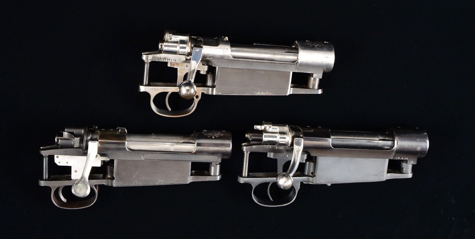 3 MAUSER 98 TYPE SPORTERIZED RIFLE BOLT ACTIONS.