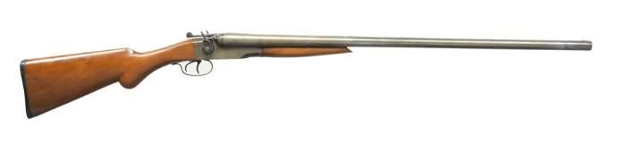 STEVENS MODEL 235 HAMMER SXS SHOTGUN.