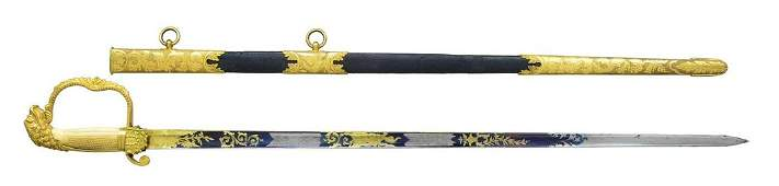 OUTSTANDING ORNATE AMERICAN EAGLEHEAD SWORD FROM