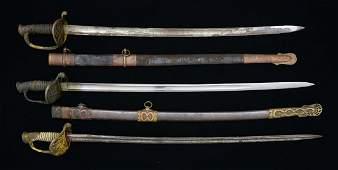 3 HIGH GRADE CIVIL WAR ERA OFFICERS SWORDS.