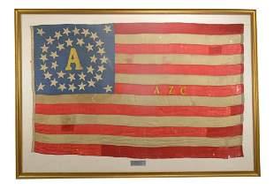 "CIVIL WAR ""ALBANY ZOUAVE CADETS†BATTLE FLAG."