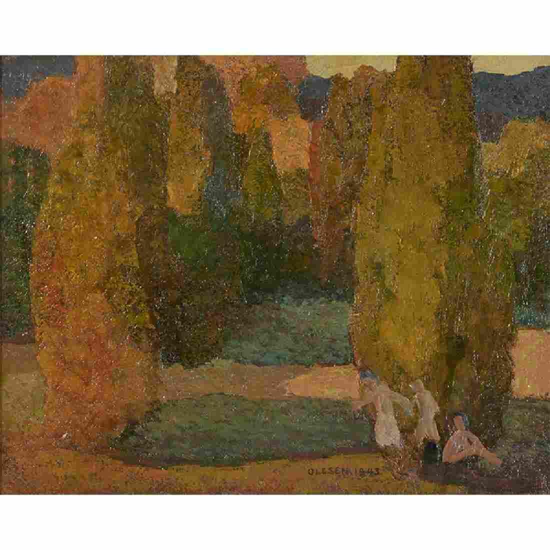 Olaf Olesen, Sunlit Cedars, 1943
