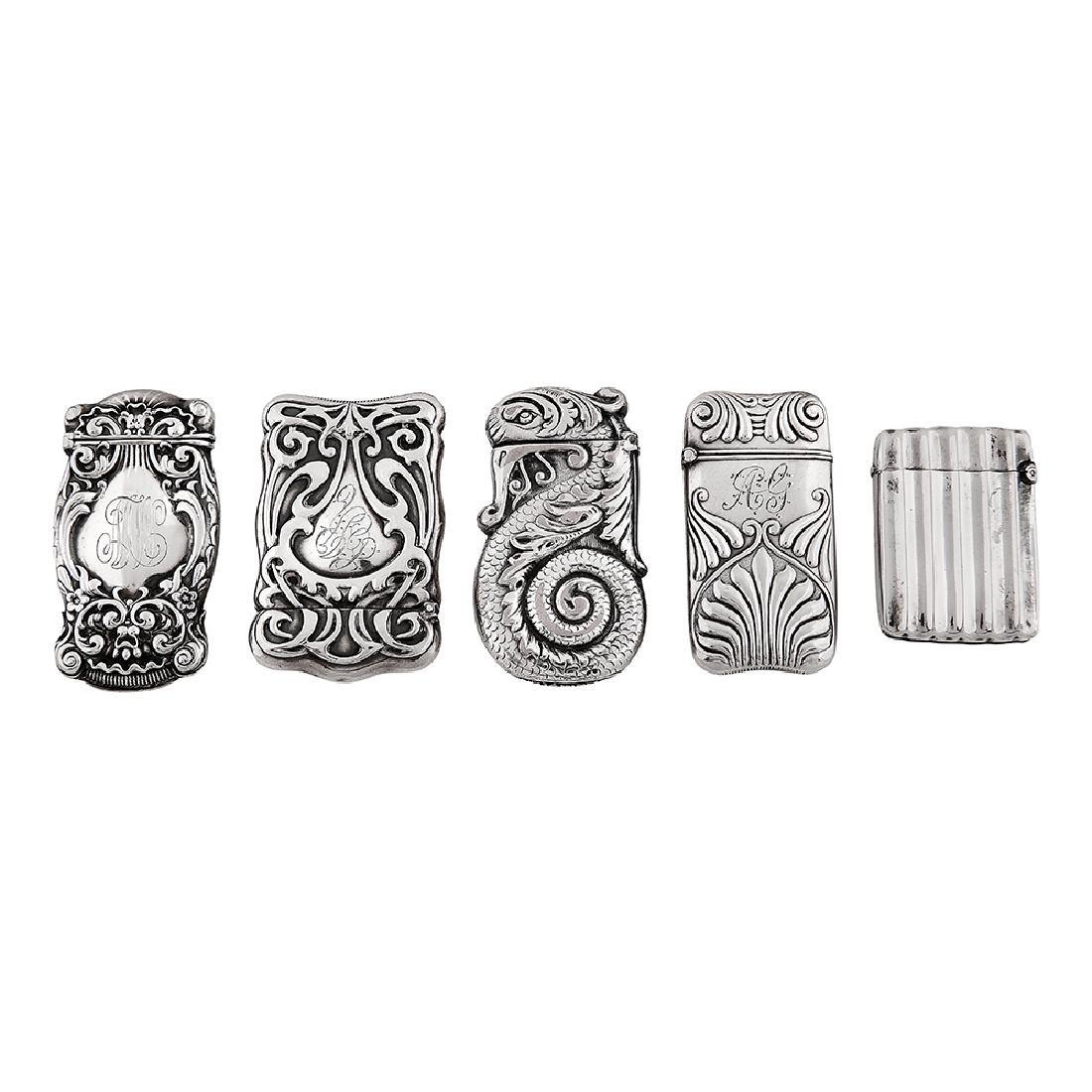 Various Makers Art Nouveau match safes, four