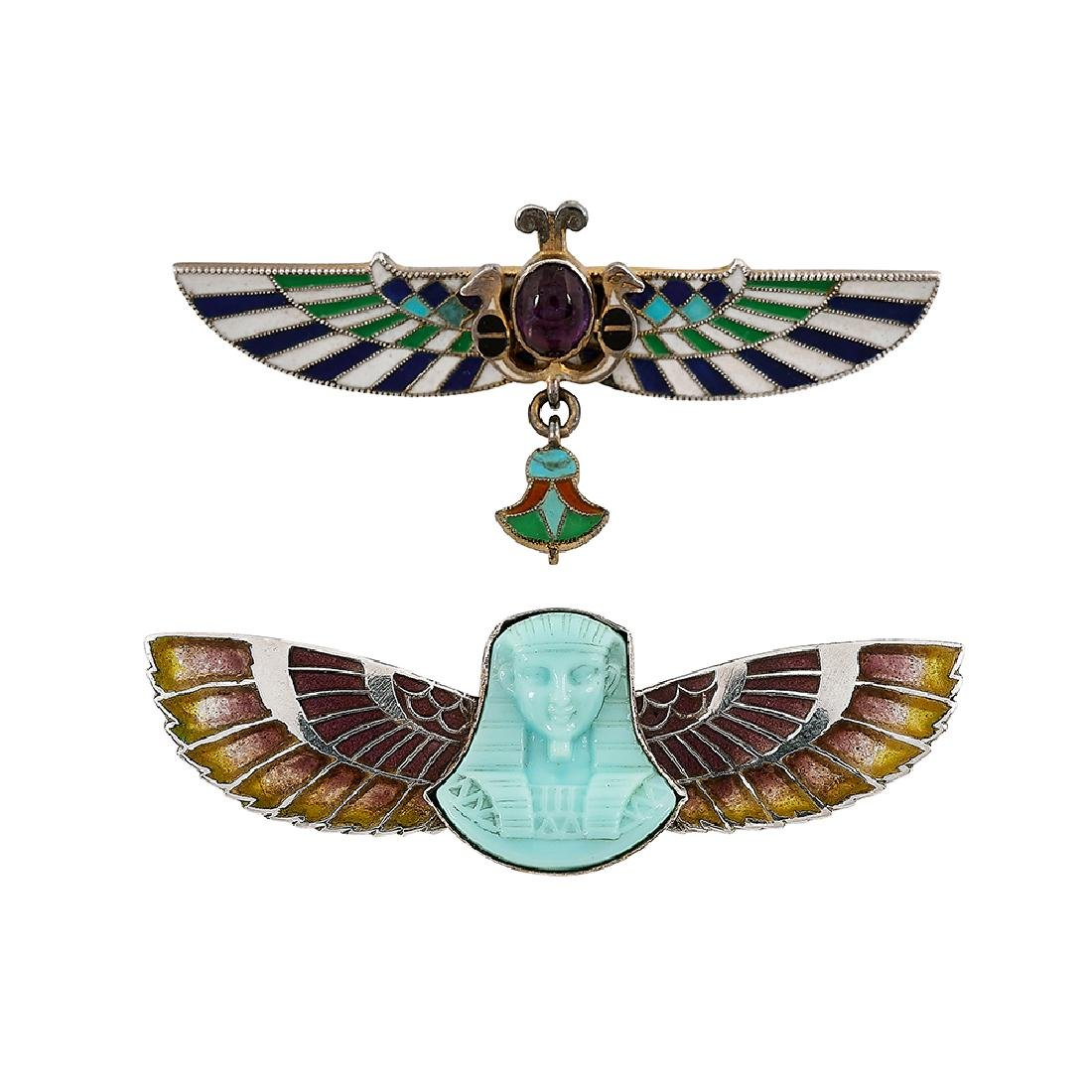 German Art Deco / Egyptian Revivial brooches, two
