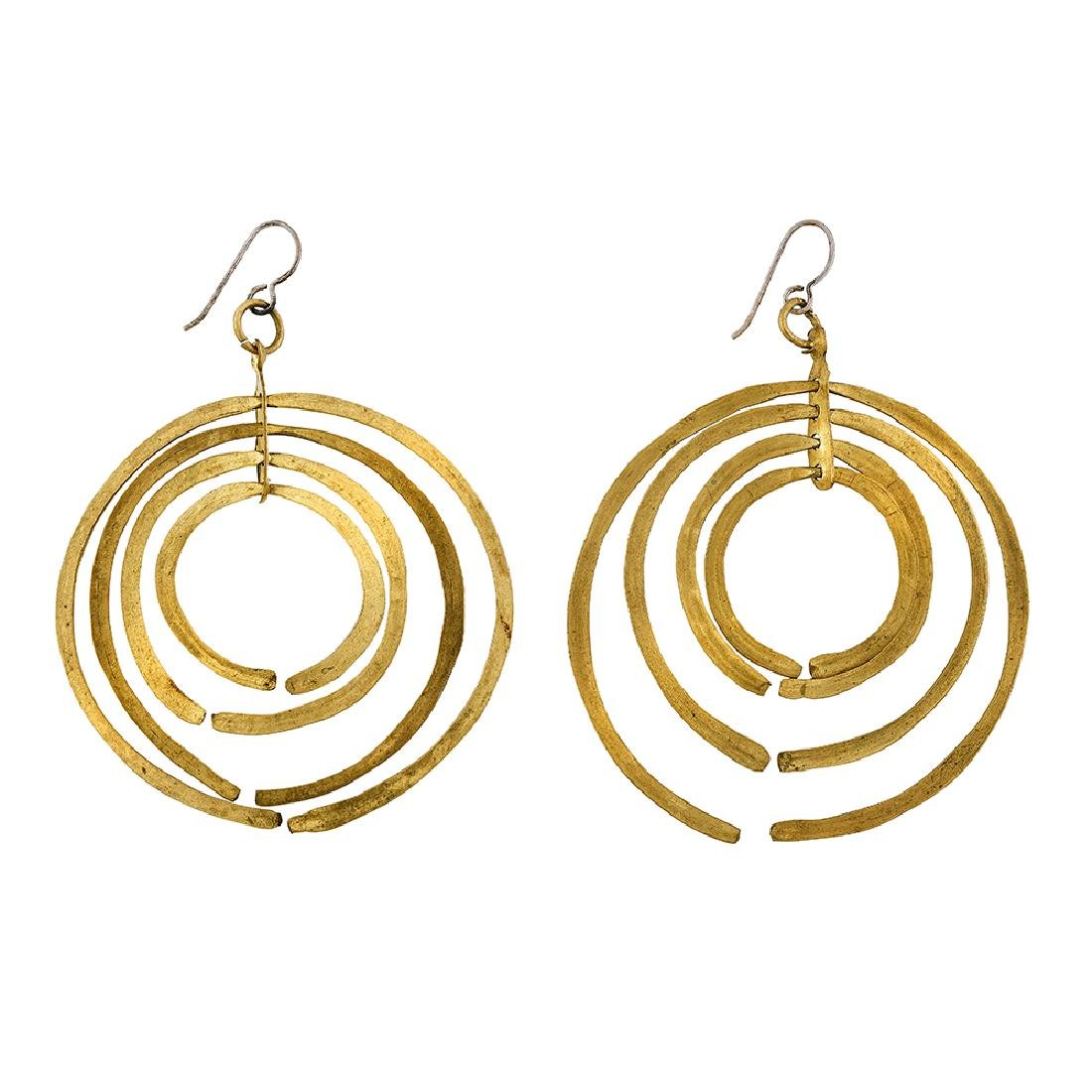 Style of Harry Bertoia concentric earrings