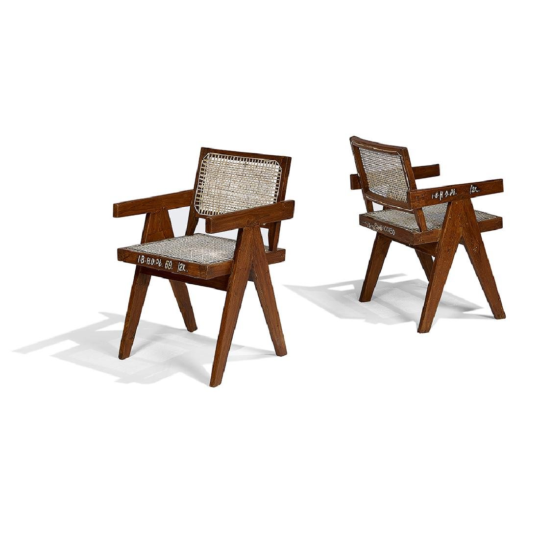 Pierre Jeanneret Armchairs, pair
