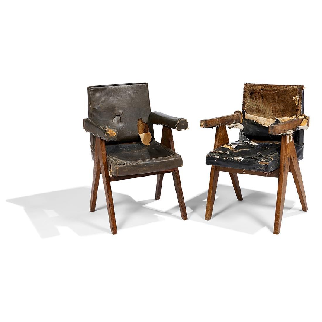 Pierre Jeanneret unrestored Committee Armchairs, pair - 2