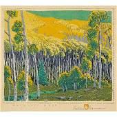 "Gustave Baumann, ""Mountain Gold,"" Color Woodcut"