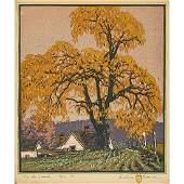 "Gustave Baumann, ""The Landmark,"" Color Woodcut"