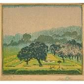 "Gustave Baumann, ""Rainy Day Promenade,"" Woodcut"