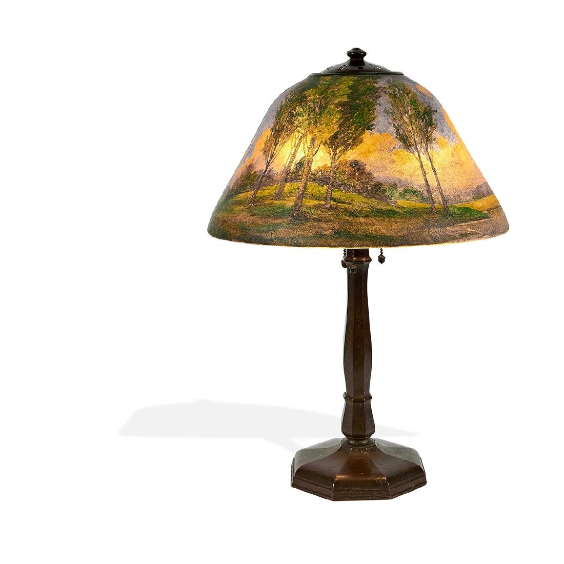 Handel, Obverse Painted Landscape Table Lamp