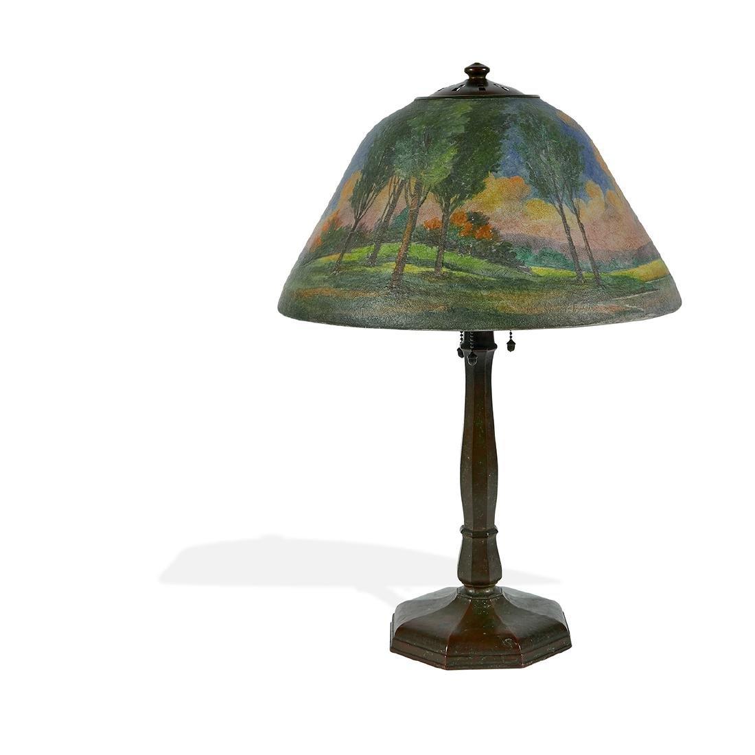 Handel, Obverse Painted Landscape Table Lamp - 2