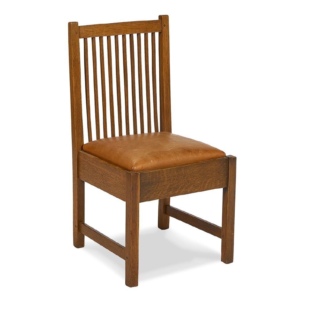 Gustav Stickley, Oak Spindle Slipper Chair, #392